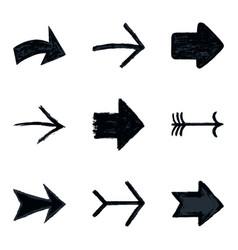 set arrow sign black texture paint vector image vector image
