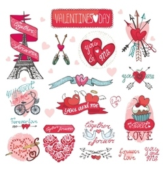Valentines day designlabels icons elements vector image