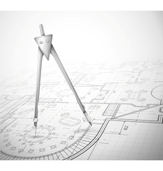 Architectural plan with compass vector