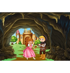 Hunter and princess in the cave vector image