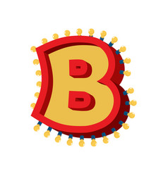 Letter b lamp glowing font vintage light bulb vector