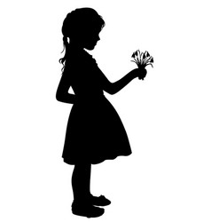 silhouette girl with flowers vector image vector image