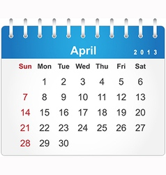 Stylish calendar page for April 2013 vector image vector image
