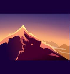 sunset mountain landscape mountainous terrain vector image