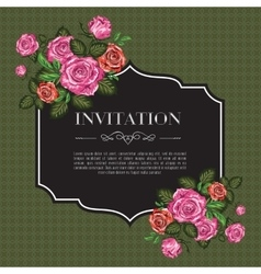 Vintage invitation with roses vector image