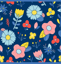 abstract happy flowers blue background pattern vector image