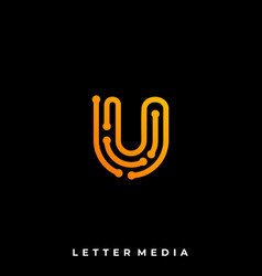 abstract letter u colorful template vector image