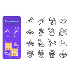appearance line icons set vector image