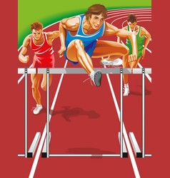 athlete steeplechase jumps barrier vector image