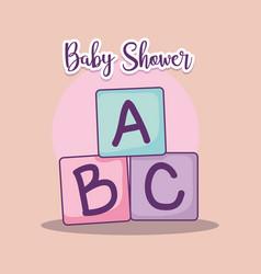 Baby shower card with alphabet blocks vector