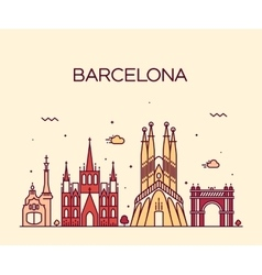 Barcelona City skyline Trendy line art vector image