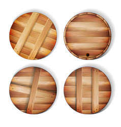 Barrel wooden sign 3d icon with shadow and vector