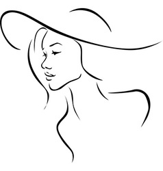 Beautiful young woman with hat profile - black vector image