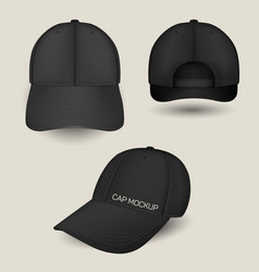 Black caps mockup in front side and back views vector