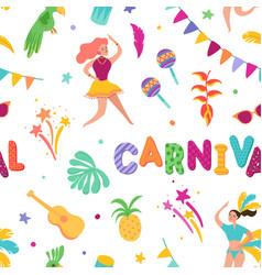 Brazilian carnival seamless pattern samba dancer vector