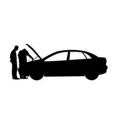 Broken car accident on road silhouette open hood vector
