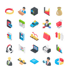 Business flat icons collection vector