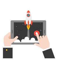 business hand launching rocket from tablet or vector image
