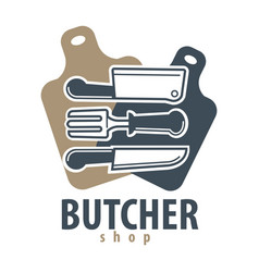 butcher shop logotype with cutleries vector image