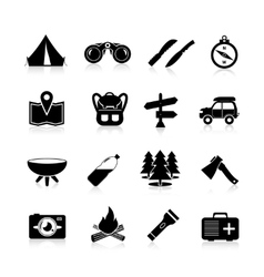 Camping Icons Black vector image