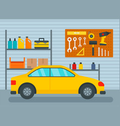 Car in home garage background flat style vector