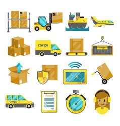 cargo icon set isolated airplane harbor vector image