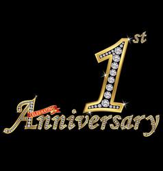 Celebrating 1st anniversary golden sign vector