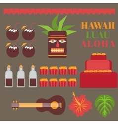 Celebration on hawaii island Luau party elements vector