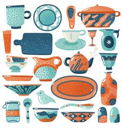 Ceramic crockery home kitchen isolated crockery vector
