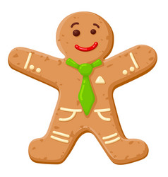 christmas oatmeal cookie in shape smiling human vector image