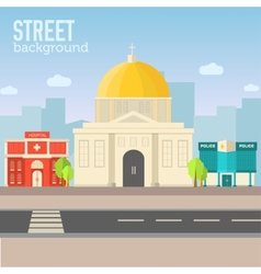 Church building in city space with road on flat vector