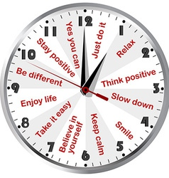 Clock with motivational and positive thinking vector image