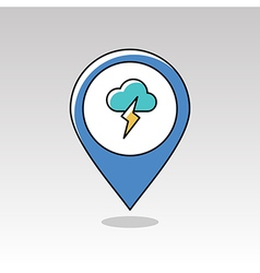Cloud lightning pin map icon meteorology weather vector