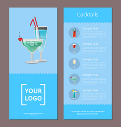 Cocktail menu advertisement poster with prices vector