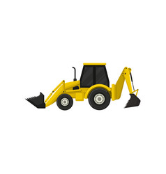 Colorful icon of backhoe-loader yellow tractor vector