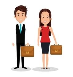 Couple cartoon worker businesspeople design vector