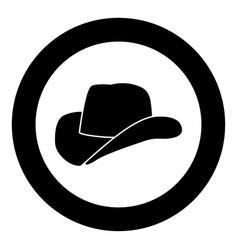 Cowboy hat icon black color in circle vector
