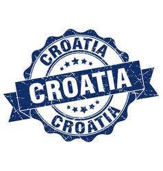 Croatia round ribbon seal vector