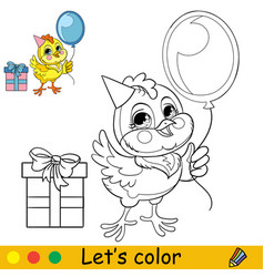 Cute holiday chicken coloring with colorful vector