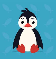 Cute penguin sitting sad of vector