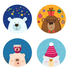cute retro hand drawn cards with funny bear snow vector image
