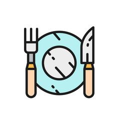 cutlery plate with fork and knife flat color line vector image