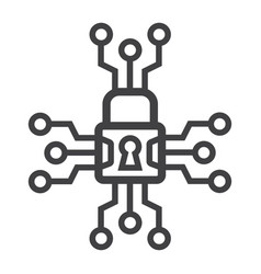 Cyber security line icon padlock and security vector