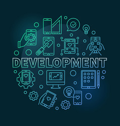 development round modern colored linear vector image