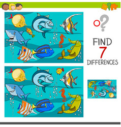 Differences game with fish characters vector