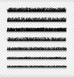 Different silhouettes types grass borders vector