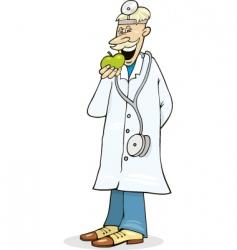 Doctor eats green apple vector