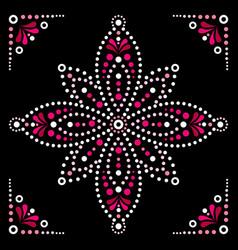 Dot art flower traditional aboriginal art vector