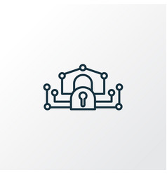 E-private network icon line symbol premium vector