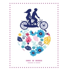 Fairytale flowers couple on tandem bicycle vector